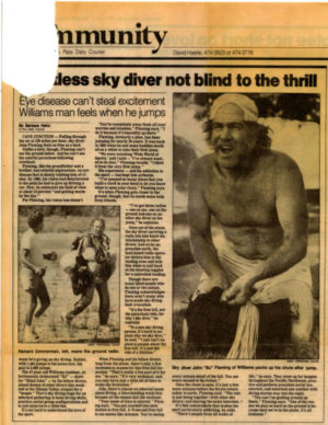 Old newspaper clipping of article: Sightless Sky Diver Not Blind to the Thrill